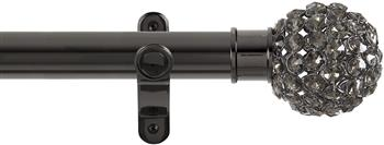 Renaissance Spectrum 35mm Eyelet Curtain Pole Black Nickel, Smoked Crystal Beads