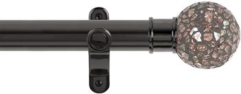 Renaissance Spectrum 35mm Eyelet Curtain Pole Black Nickel, Rose Mosaic Ball