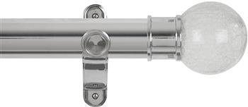 Renaissance Spectrum 50mm Eyelet Curtain Pole Polished Silver, Crackled Glass Ball