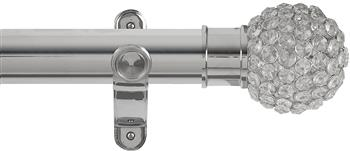 Renaissance Spectrum 50mm Eyelet Curtain Pole Polished Silver, Clear Crystal Beads