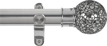 Renaissance Spectrum 50mm Eyelet Curtain Pole Polished Silver, Mirror Mosaic Ball