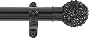 Renaissance Spectrum 50mm Eyelet Curtain Pole Black Nickel, Smoked Crystal Beads