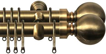 Renaissance 28mm Metal Double Curtain Pole Antique Brass, Plain Ball