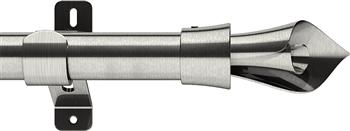 Swish Design Studio 28mm Standard Eyelet Curtain Pole, Satin Steel, Blossom