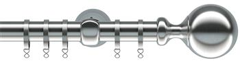 Speedy Ares 28mm Metal Curtain Pole, Satin Silver