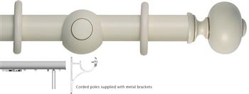 Museum 45mm, 55mm Corded Curtain Pole, Antique White, Parham