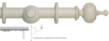 Museum 45mm, 55mm Corded Curtain Pole, Antique White, Boudoir