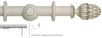 Museum 45mm Corded Curtain Pole, Antique White, Pantheon