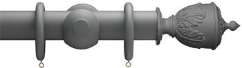 Advent 47mm Shades of Grey Wood Curtain Pole, Midnight Grey, Decorative Urn