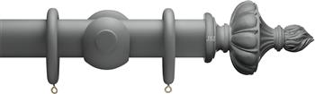 Advent 47mm Shades of Grey Wood Curtain Pole, Midnight Grey, Ornamental Urn