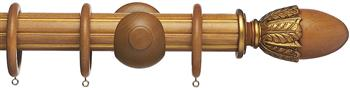 Resina Fluted Curtain Pole 47mm Wood Acorn Light Oak, Gilt