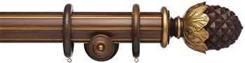 Resina Fluted Curtain Pole 47mm Wood Pineapple Walnut, Gilt
