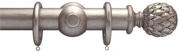 Advent 47mm Metallic Painted Wood Curtain Pole, Distressed Silver, Artichoke