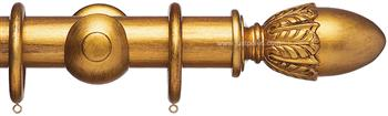 Advent 47mm Metallic Painted Wood Curtain Pole, Distressed Gold, Acorn