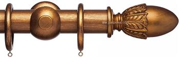 Advent 47mm Metallic Painted Wood Curtain Pole, Distressed Bronze, Acorn