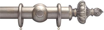 Advent 47mm Metallic Painted Wood Curtain Pole, Distressed Silver, Ornamental Urn