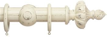Advent 47mm Painted Wood Curtain Pole, Distressed Linen, Ornamental Urn