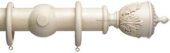 Advent 47mm Vintage Wood Curtain Pole, Vintage White, Decorative Urn
