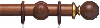 Resina Curtain Pole 47mm & 65mm Wood Ball Mahogany, Gilt