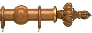 Resina Curtain Pole 47mm Wood Ornamental Urn Light Oak, Gilt