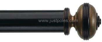 Byron Classic 55mm, 67mm Pole Hardwick Ebony,Ant Gilt/Black Detail