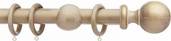 Integra Wood Works 28mm, 35mm, 50mm Curtain Pole, Cream Gold Ball