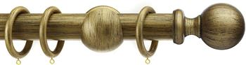 Integra Wood Works 28mm, 35mm, 50mm Curtain Pole, Black Gold Ball