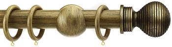 Integra Wood Works 28mm, 35mm, 50mm Curtain Pole, Black Gold Ribbed Ball