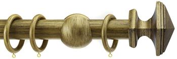 Integra Wood Works 28mm, 35mm, 50mm Curtain Pole, Black Gold Square