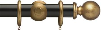 Resina Curtain Pole 47mm Wood Ball Distress Gold, Ebony