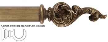 Alison Davies Couture 40/50/63mm Wood Curtain Pole Fools Gold, Acanthus Leaf Scroll