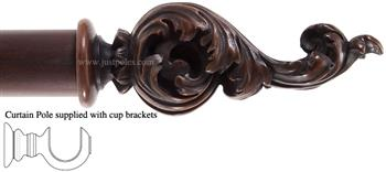 Alison Davies Couture 40/50/63mm Wood Curtain Pole Chestnut, Acanthus Leaf Scroll