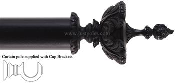 Alison Davies Couture 40/50/63mm Wood Curtain Pole Ebony, Feathered Urn