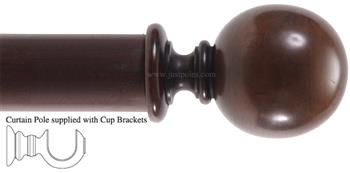 Alison Davies Couture 40/50/63mm Wood Curtain Pole Chestnut, Ball