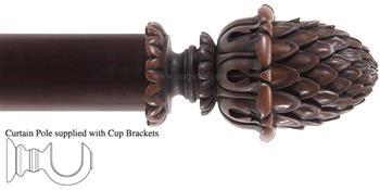 Alison Davies Couture 40/50/63mm Wood Curtain Pole Chestnut, Sherwood