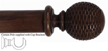 Alison Davies Couture 40/50/63mm Wood Curtain Pole Chestnut, Woven