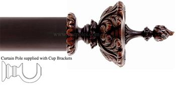 Alison Davies Couture 40/50/63mm Wood Curtain Pole Chestnut, Feathered Urn
