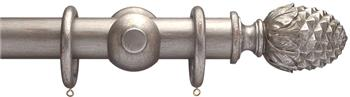 Advent 35mm Metallic Painted Wood Curtain Pole, Distressed Silver, Pineapple