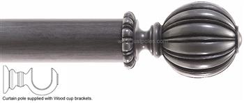 Alison Davies Couture 40/50/63mm Wood Curtain Pole Antique Silver, Satsuma