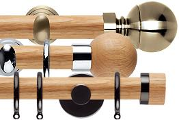 Neo Oak Wood & Metal 28mm Curtain Poles