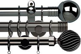 Gunmetal, Black Nickel, Pewter, Graphite Curtain Poles