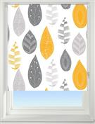 Universal Patterned Blackout Roller Blind, Leaf Yellow