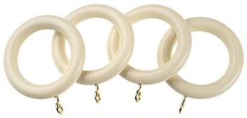 Universal 35mm Wood Curtain Pole Rings, Cream