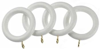 Universal 35mm Wood Curtain Pole Rings, White