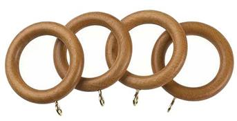 Universal 35mm Wood Curtain Pole Rings, Antique Pine