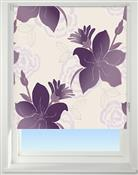 Universal Patterned Blackout Roller Blind, Lily Purple