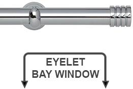 Neo 28mm Eyelet Bay Window Curtain Pole Chrome Stud