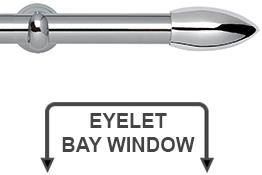 Neo 28mm Eyelet Bay Window Curtain Pole Chrome Bullet