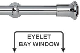 Neo 28mm Eyelet Bay Window Curtain Pole Chrome Trumpet