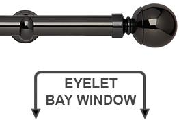 Neo 28mm Eyelet Bay Window Curtain Pole Black Nickel Ball